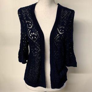 Torrid Navy Blue Open Knit Crochet Shrug Cardigan